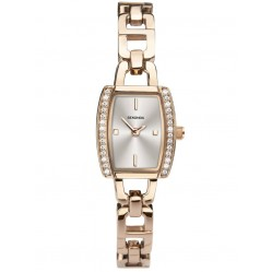 Sekonda Ladies Rose Gold Plated Stone Set Silver Sunray Rectangle Dial Open Link Bracelet Dress Watch 2774