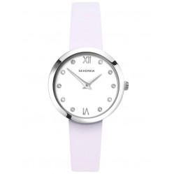 Sekonda Ladies Editions White Stone Set Dial Lilac Leather Strap Watch 2759