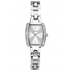 Sekonda Ladies Stone Set Silver Sunray Rectangle Dial Open Link Bracelet Dress Watch 2773