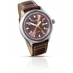 Sekonda Mens Aviator Brown Sunray Dial Leather Strap Watch 3882