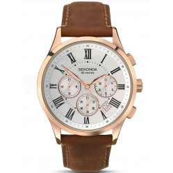 Sekonda Men's Rose Gold Plated and Brown Leather Watch 1144