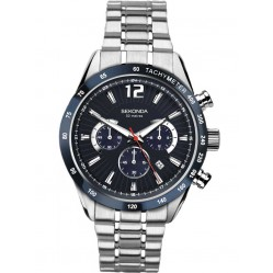 Sekonda Mens Stainless Steel Blue Dial Chronograph Bracelet Watch 1226