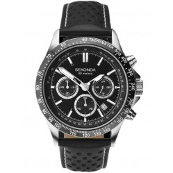 Sekonda Mens Black Chronograph Leather Strap Watch 1227
