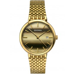 Sekonda Mens Gold Plated Mesh Bracelet Watch 1382