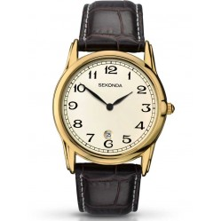 Sekonda Mens Gold Leather Strap Watch 1033