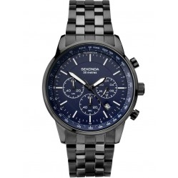 Sekonda Mens Chronograph Blue Stainless Steel Bracelet Watch 1376