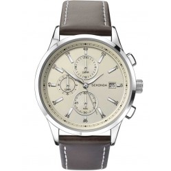Sekonda Mens Chronograph Champagne Leather Strap Watch 1394