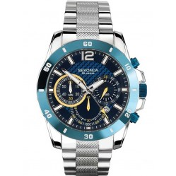 Sekonda Mens Chronograph Blue Stainless Steel Bracelet Watch 1443