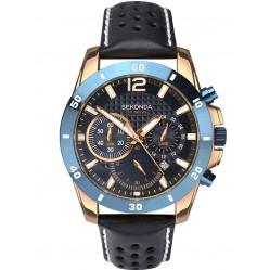 Sekonda Mens Chronograph Black Leather Strap Watch 1489