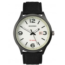 Sekonda Mens Luminous Black Fabric Strap Watch 1506