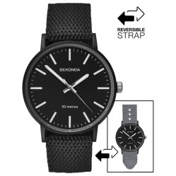 Sekonda Mens Black Grey Casual Reversible Strap Watch 1492