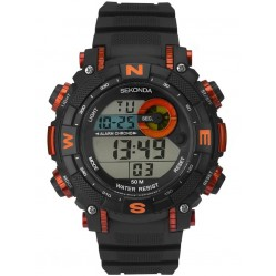 Sekonda Mens Black Orange Rubber Digital Watch 1527