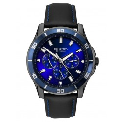 Sekonda Mens Midnight Blue Dial Black Leather Strap Dress Watch 1634