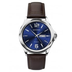 Sekonda Mens Classic Blue Dial Brown Leather Strap Watch 1654