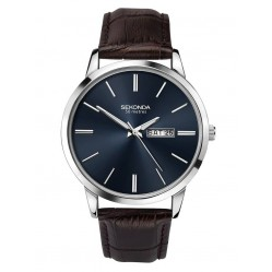 Sekonda Mens Classic Dark Blue Dial Brown Leather Strap Watch 1662