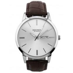 Sekonda Mens Classic Stainless Steel Silver Dial Brown Leather Strap Watch 1661