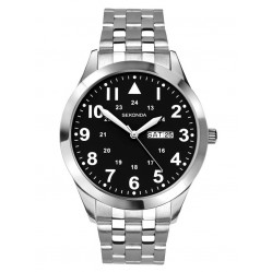 Sekonda Mens Classic Stainless Steel Black Dial Bracelet Watch 1663