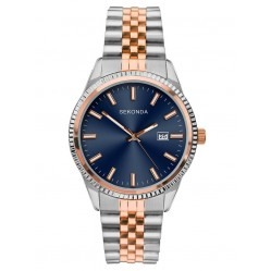 Sekonda Mens Classic Blue Dial Two Tone Bracelet Watch 1641
