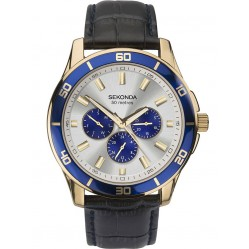 Sekonda Gold Plated Black Leather Strap Watch 1645