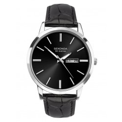 Sekonda Mens Classic Stainless Steel Black Dial Leather Strap Watch 1705