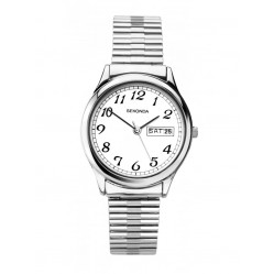 Sekonda Mens Stainless Steel White Dial Expander Bracelet Watch 1693