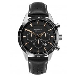 Sekonda Mens Stainless Steel Black Chronograph Dial  Leather Strap Watch 1700