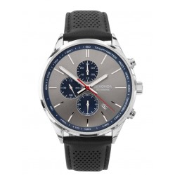 Sekonda Mens Grey Chronograph Dial Black Leather Strap Watch 1711