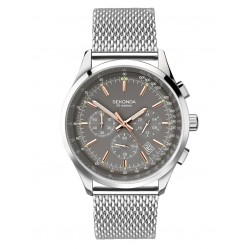 Sekonda Mens Chronograph Grey Dial Stainless Steel Mesh Bracelet Watch 1490
