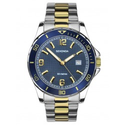 Sekonda Mens Sports Blue Sunray Dial Two Tone Bracelet Watch 1591