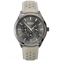 Sekonda Mens Grey Dial Multi-Function Leather Strap Dress Watch 1694