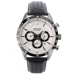 Sekonda Mens Classic Dual-Time Silver Dial Black Leather Strap Watch 1699