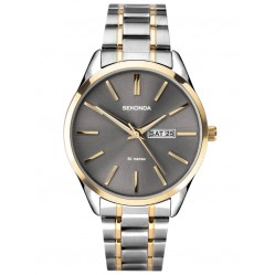 Sekonda Mens Classic Grey Sunray Dial Day Date Two Tone Bracelet Watch 1706