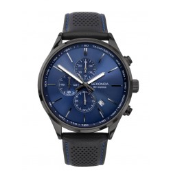 Sekonda Mens Chronograph Blue Sunray Dial Black Leather Strap Watch 1773