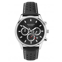 Sekonda Mens Classic Chronograph Black Dial Leather Strap Watch 1785