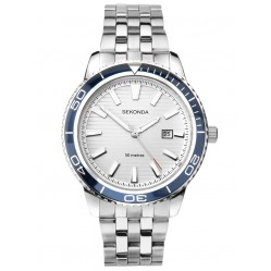 Sekonda Mens Sports White Patterned Dial Stainless Steel Bracelet Watch 1790