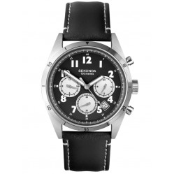 Sekonda Mens Classic Dual-Time Black Dial Leather Strap Watch 1742