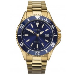 Sekonda Mens Sport Navy Blue Dial Gold Plated Bracelet Watch 1516