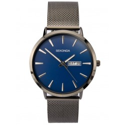 Sekonda Mens Classic Blue Dial Gun Metal Mesh Strap Watch 1728