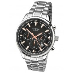 Sekonda Mens Classic Dual-Time Black Dial Stainless Steel Bracelet Watch 1475