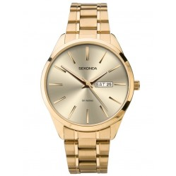Sekonda Mens Classic Champagne Sunray Dial Gold Plated Bracelet Watch 1643