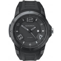 Sekonda Mens Sport Black Dial Rubber Strap Watch 1165