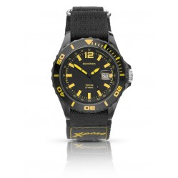 Sekonda Mens Xpose Sports Black and Yellow Dial Nylon Strap Watch 3525