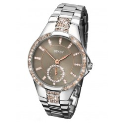 Sekonda Ladies Cubic Zirconia Stainless Steel Watch 2182