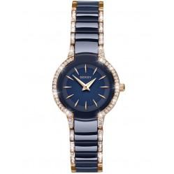 Sekonda Ladies Seksy Entice Two Tone Blue Rose Gold Plated Stone Set Bracelet Watch 2382