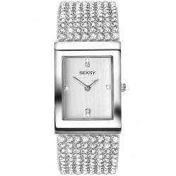 Sekonda Ladies Seksy Silver Rectangular Krystal Bracelet Watch 2375