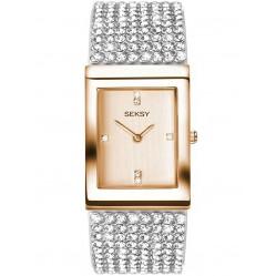 Sekonda Ladies Seksy Two Tone Rectangular Krystal Bracelet Watch 2376