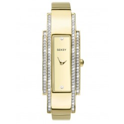 Sekonda Ladies Seksy Gold Plated Stone Set Champagne Dial Bracelet Watch 2737