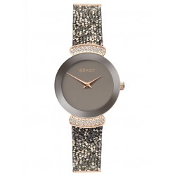 Sekonda Ladies Seksy Rocks Rose Gold Plated Black Glitter Leather Strap Watch 2719