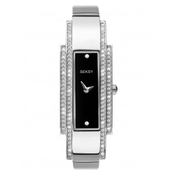 Sekonda Ladies Seksy Stainless Steel Stone Set Rectangle Black Dial Bracelet Watch 2735