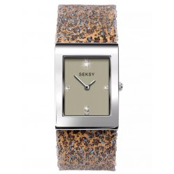 Sekonda Ladies Seksy Rocks Stainless Steel Champagne Dial Glitter Leopard Bracelet Watch 2851